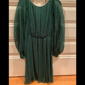 Emerald Silk and Chiffon Dress with Sheer Sleeves